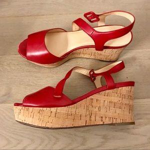 Cole Haan Arden red and cork platform wedge sandal